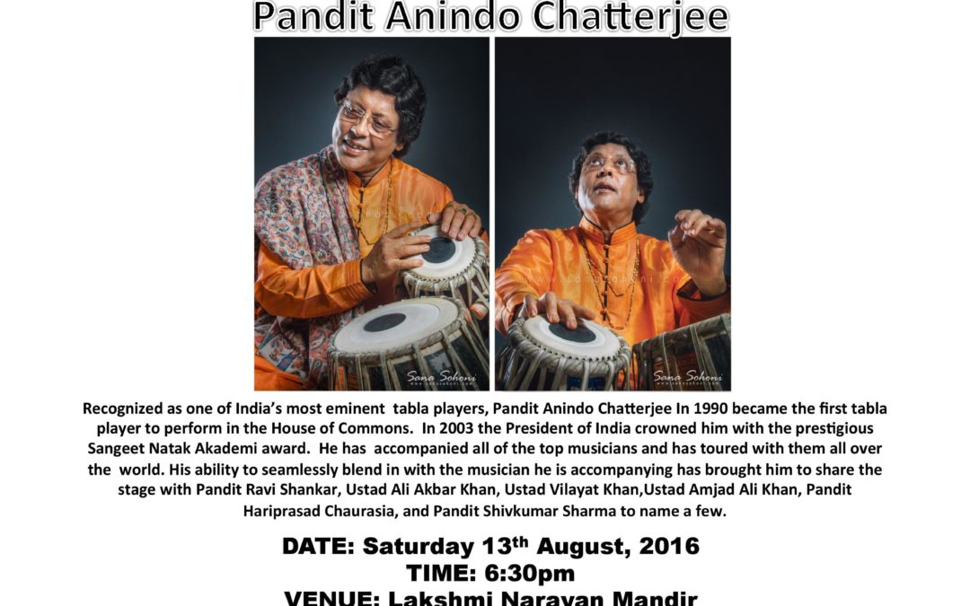 Tabla artist Anindo Chatterjee to perform in Houston on Sat. 8/13/16